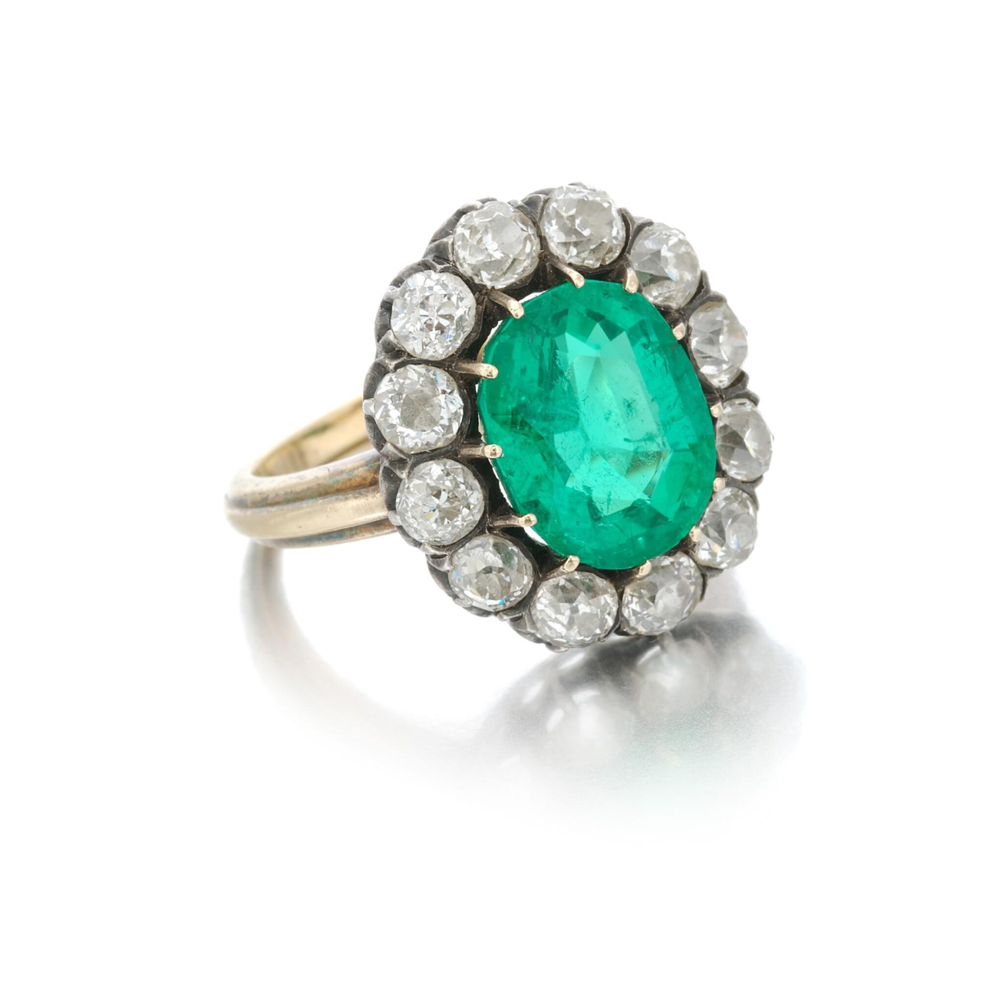View full screen - View 1 of Lot 9. Emerald and diamond ring (Anello con smeraldo e diamanti), 1910.