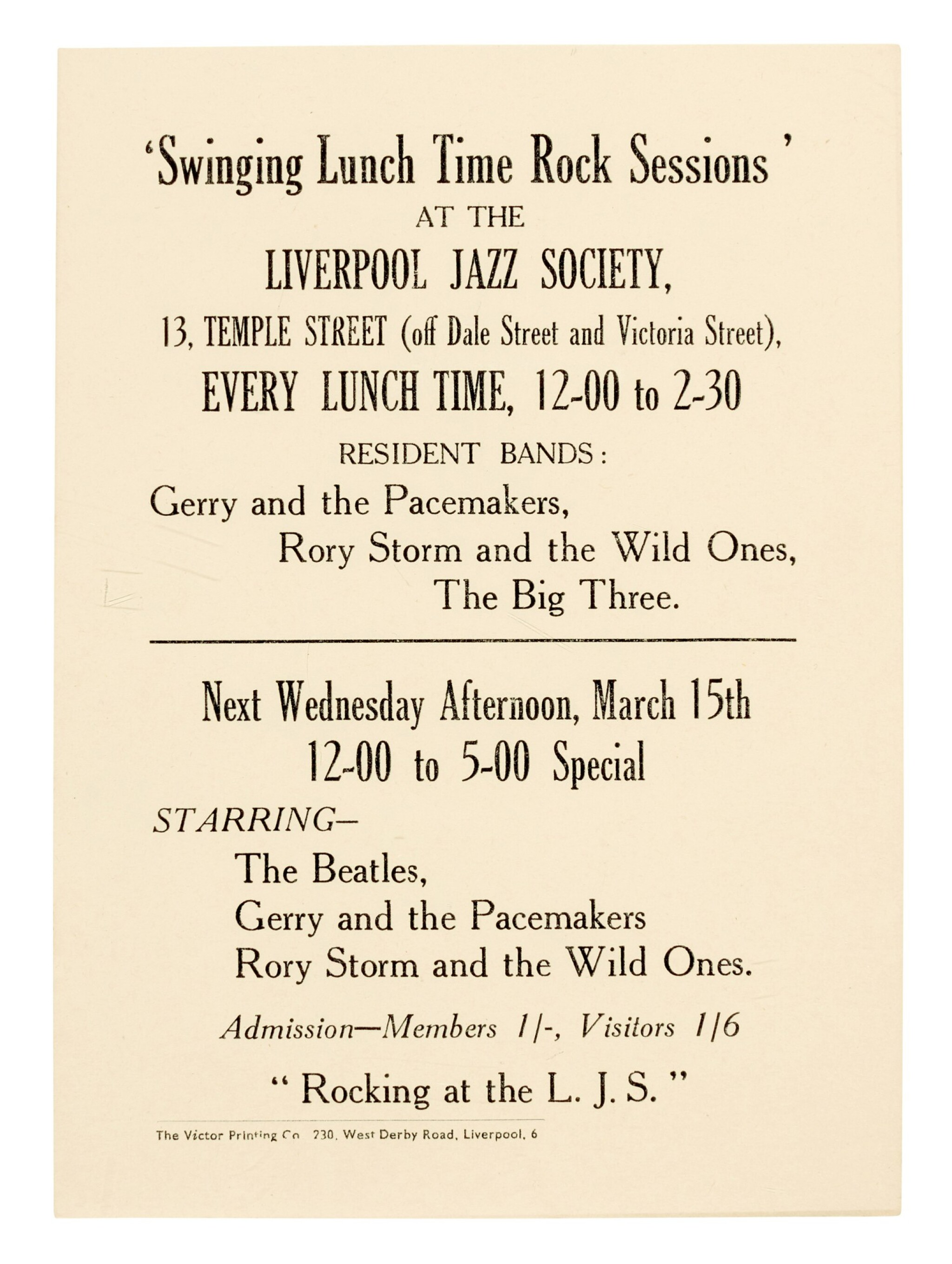 View full screen - View 1 of Lot 4. THE BEATLES   'Swinging Lunch Time Rock Sessions', handbill, 15 March 1961.