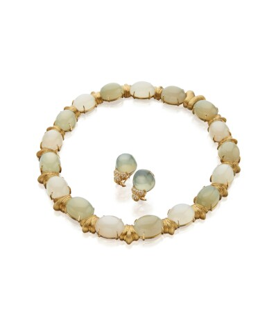 View 2. Thumbnail of Lot 45. GOLD AND MOONSTONE NECKLACE AND PAIR OF MOONSTONE AND DIAMOND EARCLIPS, HENRY DUNAY.