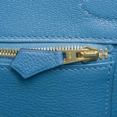 View 8. Thumbnail of Lot 22. Hermès Bleu Azur Birkin 30cm of Togo Leather with Gold Hardware.