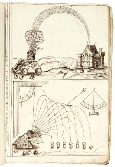 Artillery, Seventeenth-century illustrated Italian manuscript about geometry and artillery, carta rustica