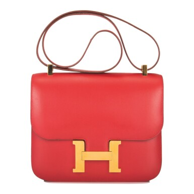 Hermès Rouge Vif Constance 23cm of Box Leather with Gold Hardware