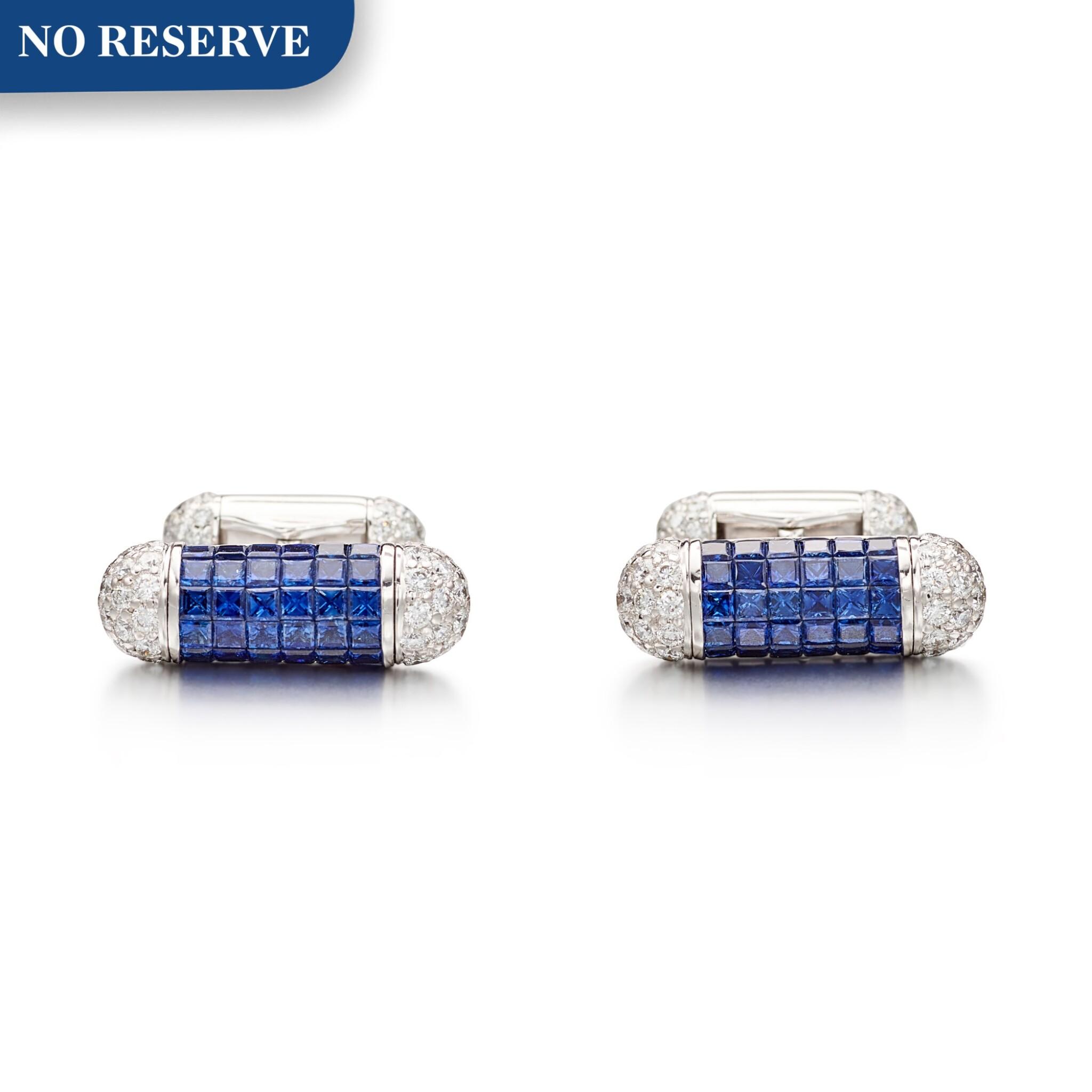 View full screen - View 1 of Lot 1108. Pair of Sapphire and Diamond Cufflinks | 格拉夫| 藍寶石 配 鑽石 袖扣一對 (藍寶石及鑽石共重約4.70及2.30克拉).