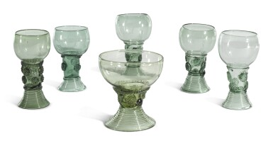 A GROUP OF SIX DUTCH OR GERMAN GREEN-TINTED GLASS SMALL ROEMERS | SECOND-HALF 17TH/18TH CENTURY