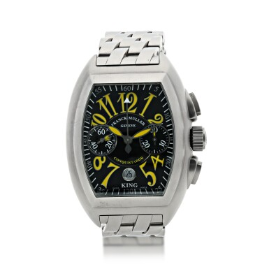 REFERENCE 8005 CC KING CONQUISTADOR A LIMITED EDITION STAINLESS STEEL TONNEAU SHAPED AUTOMATIC CHRONOGRAPH WRISTWATCH WITH DATE AND BRACELET, CIRCA 2006