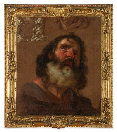 View 2. Thumbnail of Lot 74. GIACINTO BRANDI   HEAD OF A BEARDED MAN, WITH COMPOSITIONAL STUDIES EN GRISAILLE.
