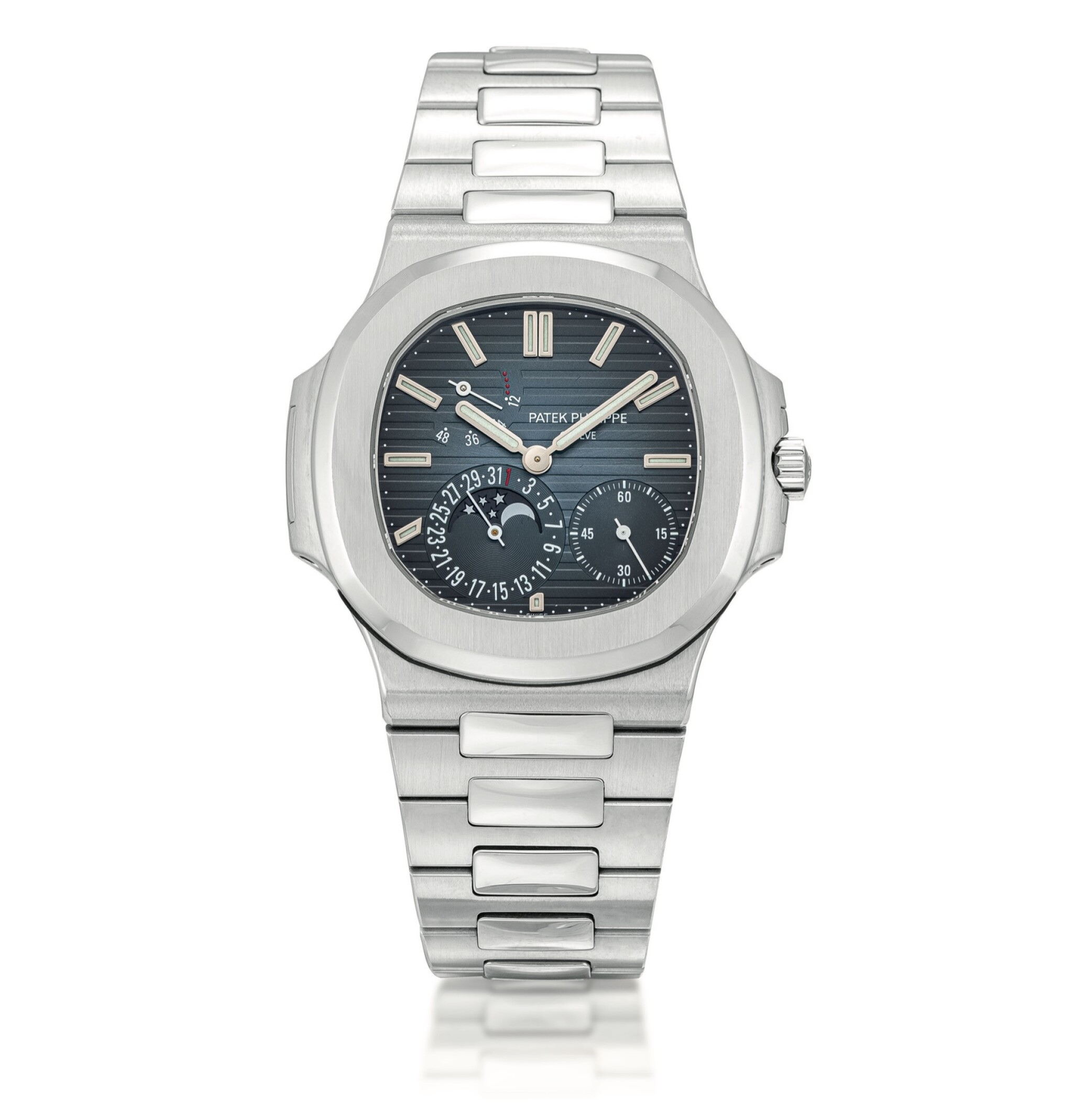 View full screen - View 1 of Lot 2080. Patek Philippe | Nautilus, Reference 5712, A stainless steel bracelet watch with date, moon phases and power reserve indication, Circa 2007 | 百達翡麗 | Nautilus 型號5712   精鋼鏈帶腕錶,備日期、月相及動力儲備顯示,約2007年製.
