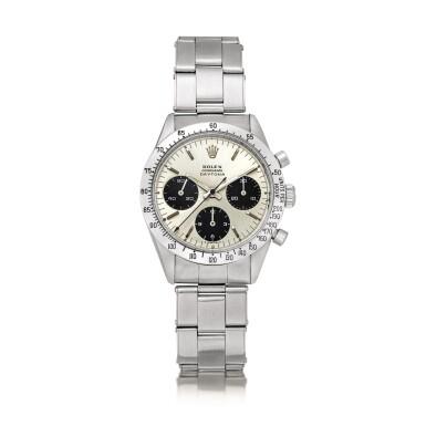 View 1. Thumbnail of Lot 2145. Rolex | Cosmograph Daytona, Reference 6239, A stainless steel chronograph wristwatch with Jumbo logo and bracelet, Circa 1971 | 勞力士 | Cosmograph Daytona 型號6239    精鋼計時鏈帶腕錶,備Jumbo標誌,約1971年製.