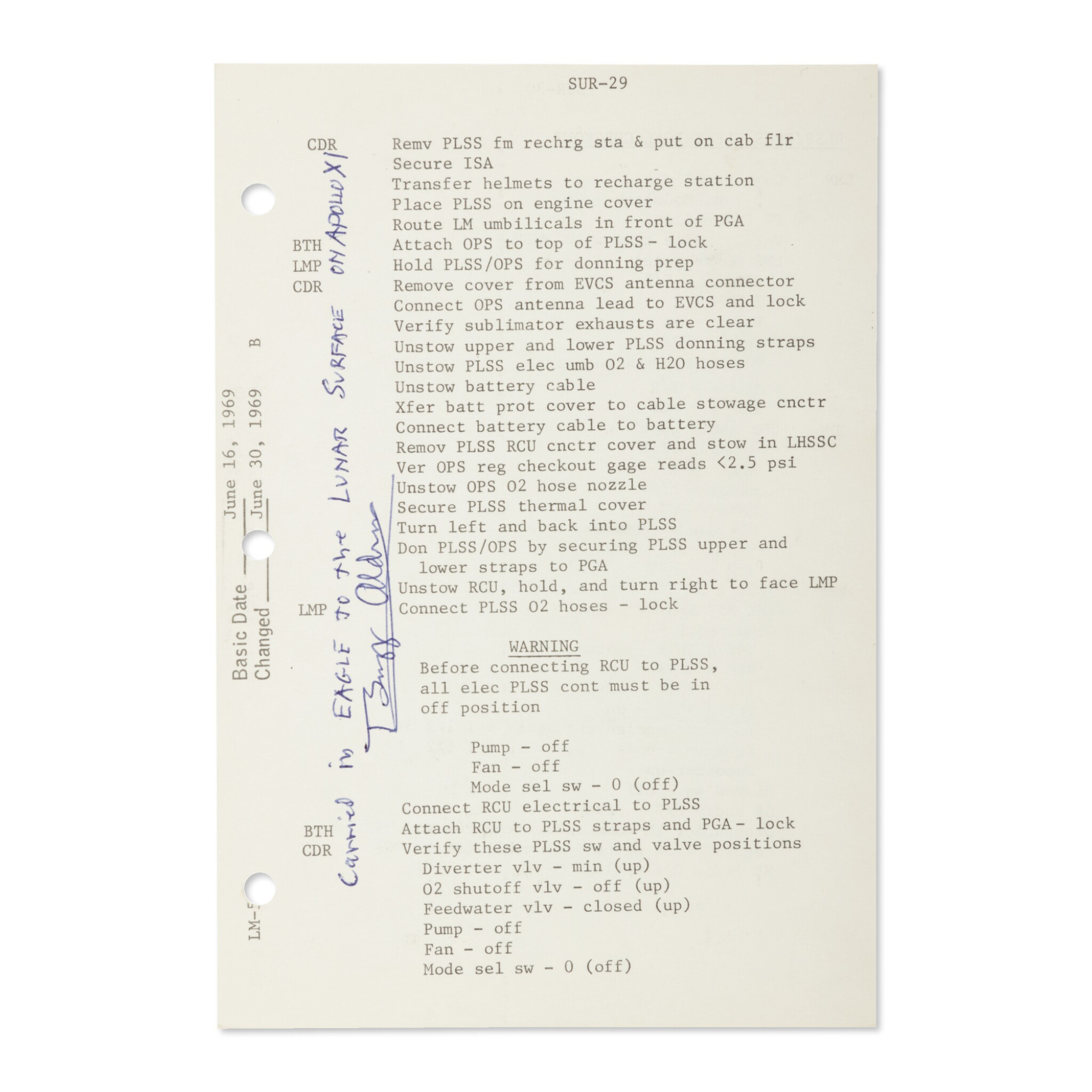 View full screen - View 1 of Lot 120. [APOLLO 11]. LUNAR SURFACE FLOWN, APOLLO 11 CHECKLIST SHEET USED ON THE LUNAR SURFACE, SIGNED & INSCRIBED BY BUZZ ALDRIN.