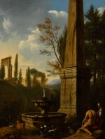 GERRIT JANSZ. VAN BRONCKHORST | A classical landscape with a woman and shepherd sitting next to an obelisk and fountain