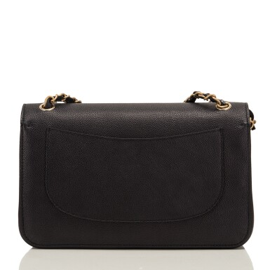 """View 4. Thumbnail of Lot 62.  Chanel """"Pure"""" Jumbo Double Flap Bag of Black Caviar Leather with Gold Tone Hardware."""