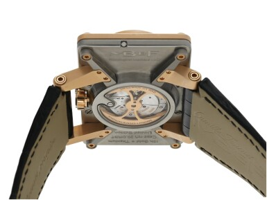 View 5. Thumbnail of Lot 92. MB&F | REF 20.DRRT HOROLOGICAL MACHINE NO.2, A LARGE LIMITED EDITION TITANIUM AND PINK GOLD RECTANGULAR DOUBLE DIALED AUTOMATIC WRISTWATCH WITH JUMPING HOURS, RETROGRADE MINUTES AND DATE, AND MOON PHASES CIRCA 2010.