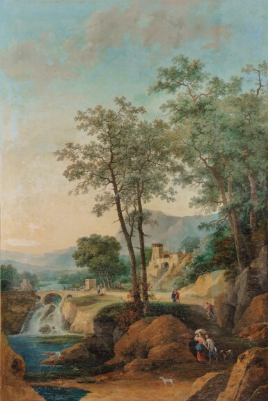 View 3. Thumbnail of Lot 179. A Landscape with an architectural capriccio of Tivoli; A Landscape with falls and a bridge.