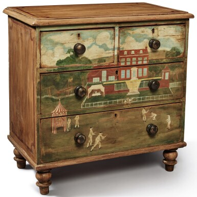 View 1. Thumbnail of Lot 1497. PAINT-DECORATED PINE CHEST OF DRAWERS, 19TH CENTURY.