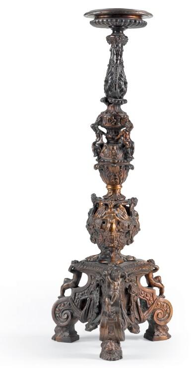 ATTRIBUTED TO THE WORKSHOP OF NICCOLÒ ROCCATAGLIATA (FL. 1593-1636) OR HIS SON SEBASTIANO NICOLINI  (ACTIVE AFTER 1614), ITALIAN, VENICE, 17TH CENTURY | CANDLESTICK