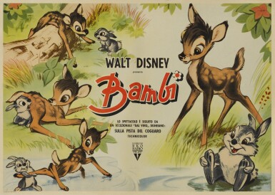 View full screen - View 1 of Lot 7. BAMBI (1942) POSTER, ITALIAN .