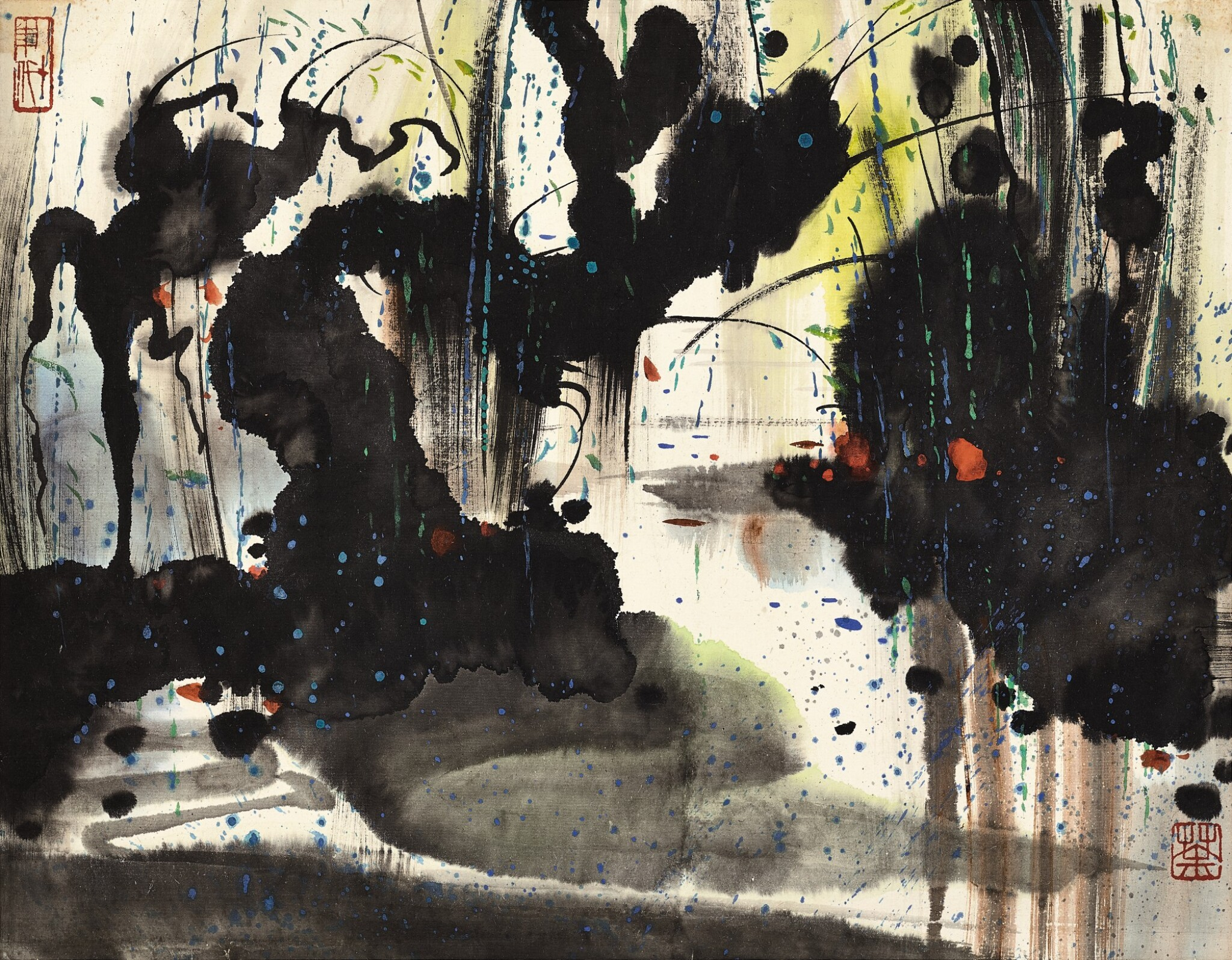 View full screen - View 1 of Lot 3063. WU GUANZHONG 吳冠中   WILLOWS BY THE STREAM 花溪.