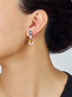 PAIR OF GEM SET AND DIAMOND PENDENT EARRINGS, BULGARI  寶石 配 鑽石 吊耳環一對, 寶格麗 ( Bulgari )