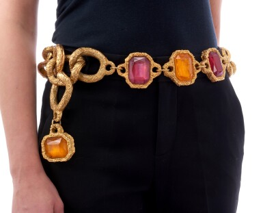 View 5. Thumbnail of Lot 4. RED AND ORANGE GRIPOIX AND GOLD-TONE METAL BELT, CHANEL.