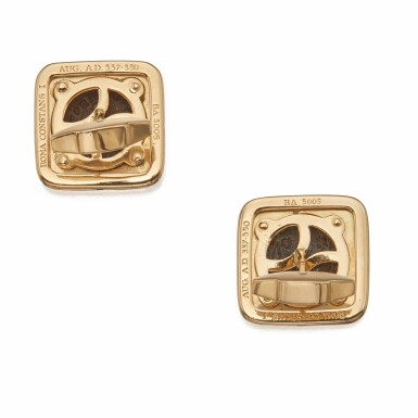 View 2. Thumbnail of Lot 400. Bulgari | Pair of Gold and Ancient Coin 'Monete' Cufflinks.