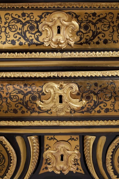 View 4. Thumbnail of Lot 12. A Régence Gilt Bronze and Brass-Mounted Ebony Contre-Partie Boulle Marquetry Commode, attributed to François Lieutaud, Circa 1730.