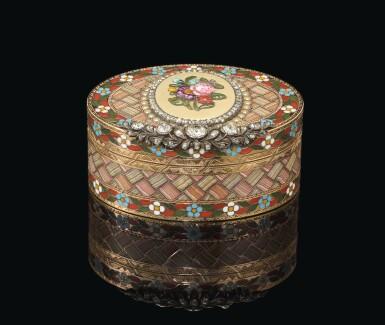 View 1. Thumbnail of Lot 16. A petite jewelled gold and pietra dura snuff box, Johann Christian Neuber, Dresden, circa 1775.