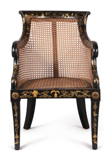 View 2. Thumbnail of Lot 128. A REGENCY STYLE JAPANNED AND CANED BERGERE.
