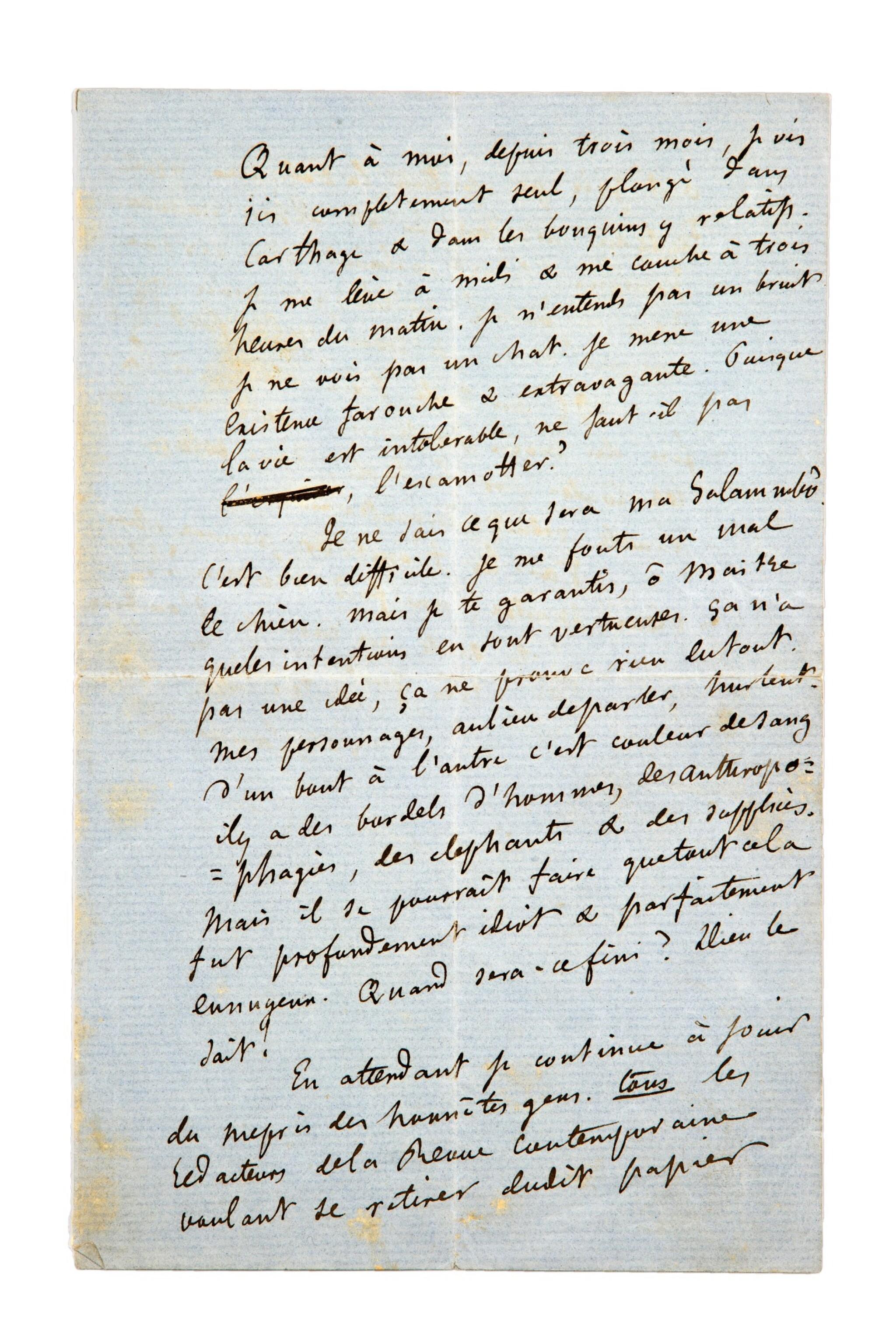 View 1 of Lot 41. FLAUBERT. Lettre autographe signée à Théophile Gautier, Jeudi 27 janvier [1859]. Lettre à propos de Salammbo..