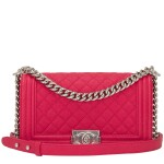 Chanel Red Quilted Old Medium Boy Bag of Caviar Leather with Silver Tone Hardware