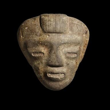 View 1. Thumbnail of Lot 164. Preclassic stone head, Guerrero/Central Highlands, Mexico, Late Preclassic, circa 300/100 BC.
