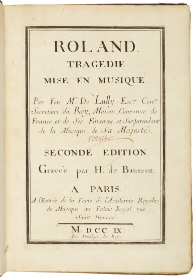 """View 2. Thumbnail of Lot 63. J.-B. Lully. Early editions of """"Roland"""" and """"Bellérophon"""", 1709 and 1714."""