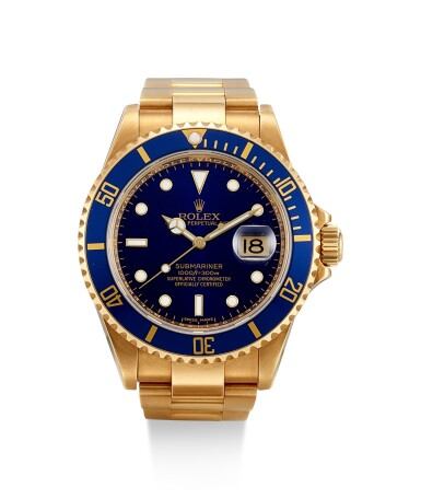 ROLEX | SUBMARINER, REFERENCE 16618 T, A YELLOW GOLD WRISTWATCH WITH DATE AND BRACELET, CIRCA 2006