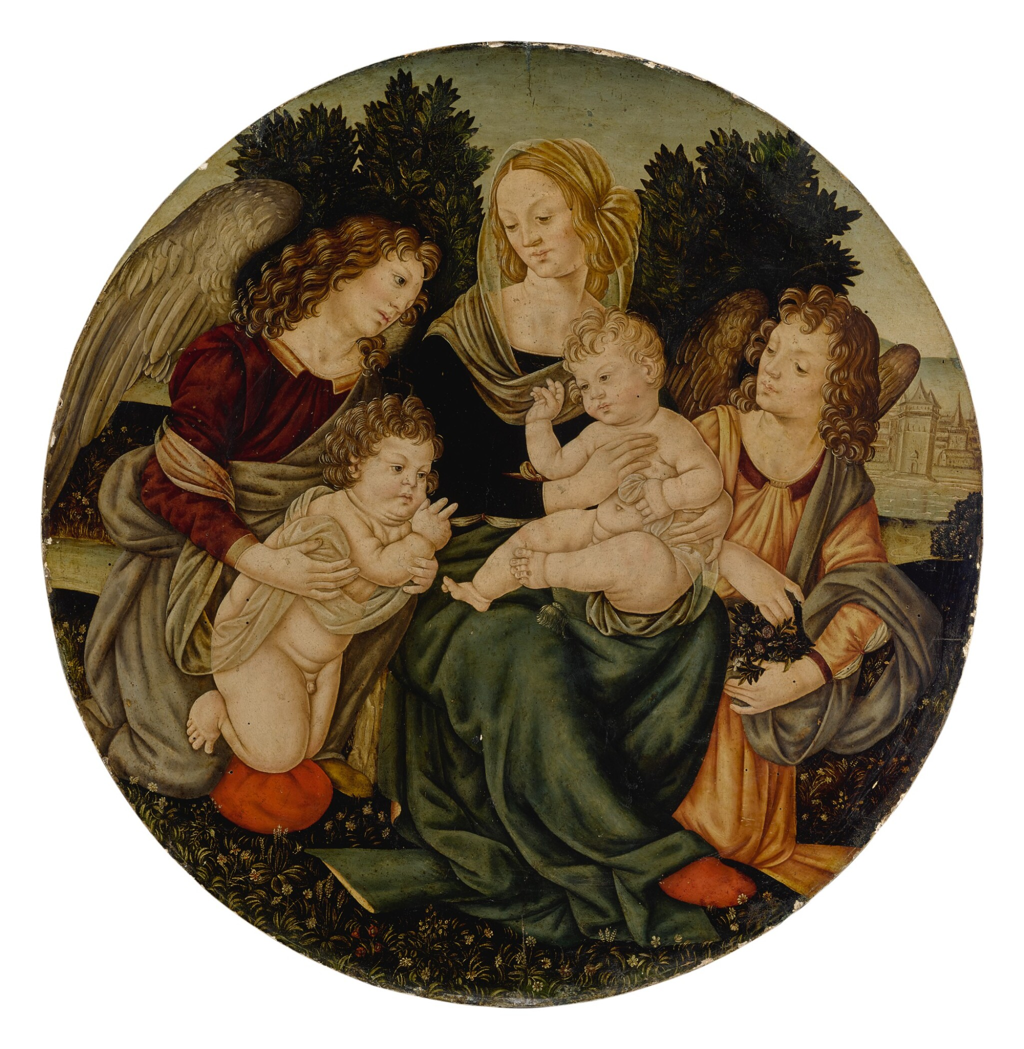 View full screen - View 1 of Lot 572. Madonna and Child with the infant Saint John the Baptist and two angels.
