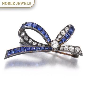 View 1. Thumbnail of Lot 664. Sapphire and diamond brooch, late 19th century | 藍寶石配鑽石別針,十九世紀末.