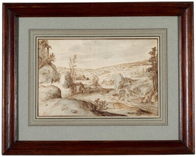 View 2. Thumbnail of Lot 25. Rocky river landscape with a Herdsman on a road to the left.
