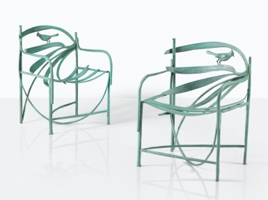 View 1. Thumbnail of Lot 106. CLAUDE LALANNE | PAIR OF WILLIAMSBURG ARMCHAIRS  [PAIRE DE FAUTEUILS WILLIAMSBURG].