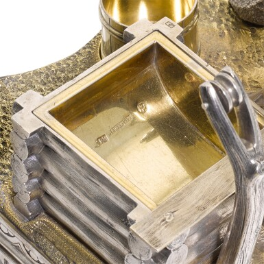 View 3. Thumbnail of Lot 206. An Impressive parcel-gilt silver figural inkwell, Ivan Khlebnikov, Moscow, 1875.