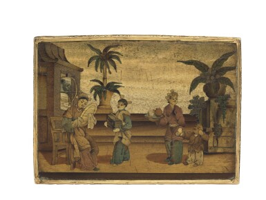 View 3. Thumbnail of Lot 11. A rare marquetry fruitwood snuff box with gold mounts, German, circa 1765.