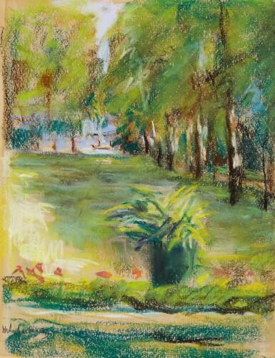 View 1. Thumbnail of Lot 58. Des Künstlers Garten von der Terrasse nach Osten gesehen mit Blick auf die Birkenallee und den Wannsee (The Artist's Garden Seen to the East from the Terrace with a View of the Birch Avenue and the Wannsee).