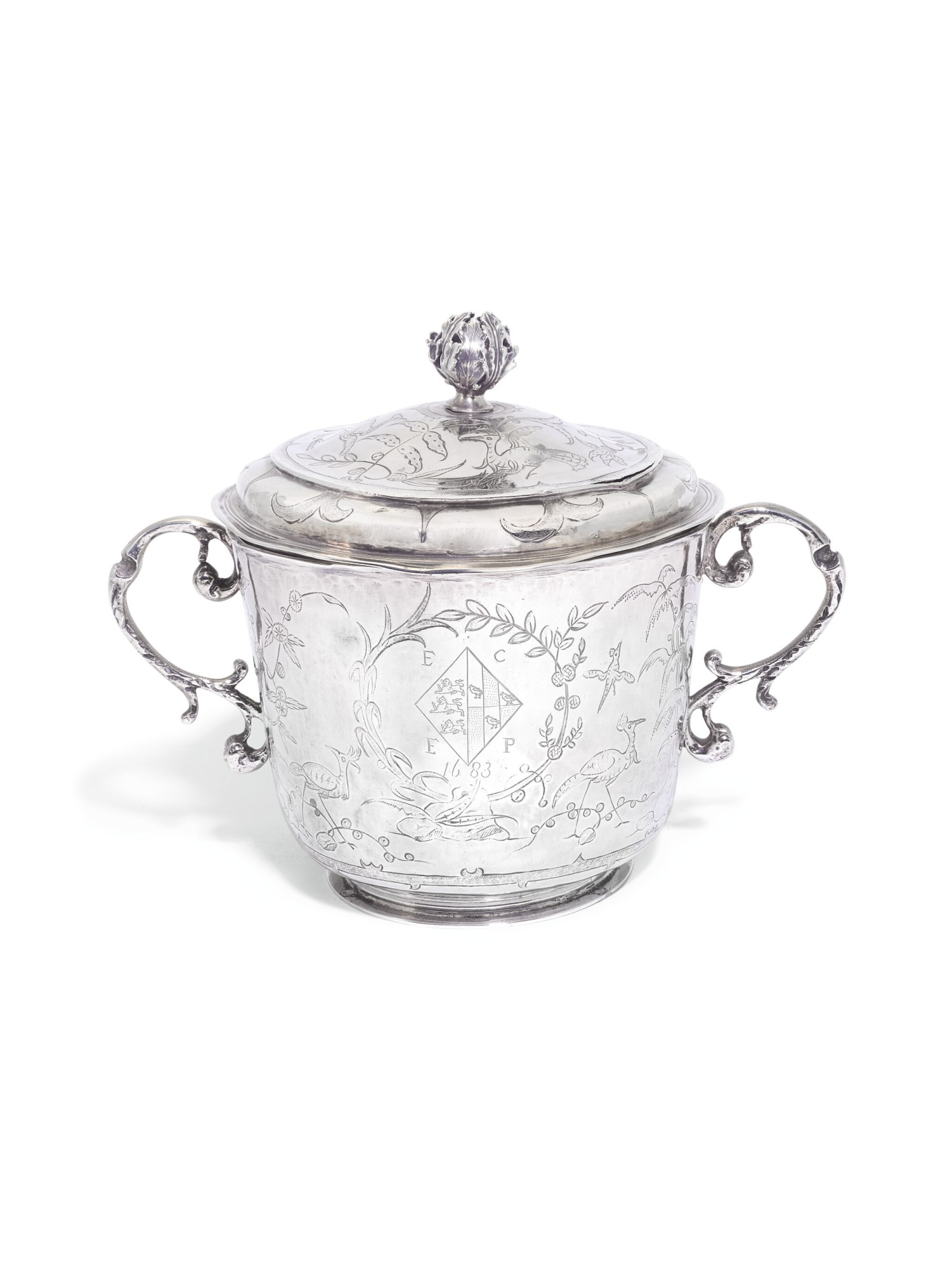 View full screen - View 1 of Lot 209. A Charles II silver porringer and cover, maker's mark RC within pellets and circle, London, 1683, the cover with maker's mark only struck twice.