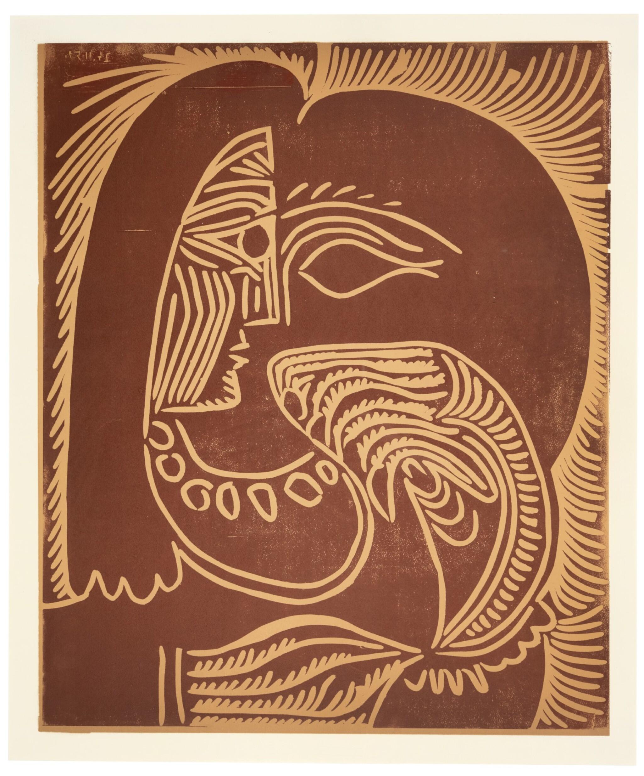 View full screen - View 1 of Lot 132. PABLO PICASSO  |  PORTRAIT DE JACQUELINE ACCOUDÉE, AU COLLIER (B. 928; BA. 1258; PP. L-078).