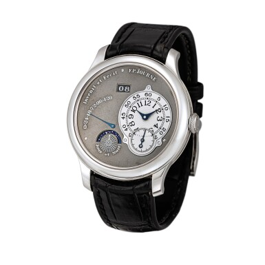 View 2. Thumbnail of Lot 2218. F.P. Journe | Octa Jour et Nuit, A limited edition platinum wristwatch with ruthenium dial, ruthenium-coated brass movement, date, power reserve and day and night indication, Circa 2003 | Octa Jour et Nuit  限量版鉑金腕錶,備釕金屬錶盤、釕金屬塗層銅製機芯、日期、動力儲備及晝夜顯示,約2003年製.