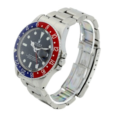 View 2. Thumbnail of Lot 101. ROLEX   REFERENCE 1675 GMT-MASTER 'PEPSI' A STAINLESS STEEL AUTOMATIC DUAL TIME WRISTWATCH WITH DATE AND BRACELET, CIRCA 1970.