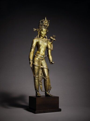 View 2. Thumbnail of Lot 326. An Important Copper Alloy Figure of Manjushri Central, Tibet, 12th/13th Century .
