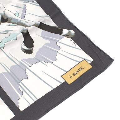 View 5. Thumbnail of Lot 193. HERMÈS | SILK SCARF 70 IN ANTHRACITE AND TURQUOISE QUAND SOUDAIN PRINT. DESIGNED BY DIMITRI RYBALTCHENKO, 2010.