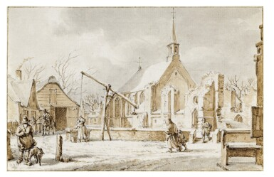 View 1. Thumbnail of Lot 39. The Month of December: View of a Village in the Snow.