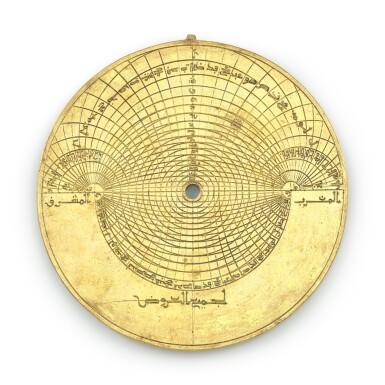 View 5. Thumbnail of Lot 66. A gilt-brass astrolabe signed by Ahmad ibn Abu 'Abdallah al-Qurtubi al-Yamani, North-East Spain, Tudela, dated 737 AH/1336-37 AD.