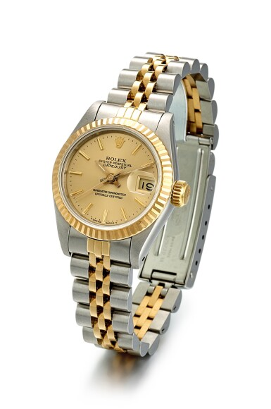 View 2. Thumbnail of Lot 8084. ROLEX   DATEJUST, REFERENCE 69173, A YELLOW GOLD AND STAINLESS STEEL WRISTWATCH WITH DATE AND BRACELET, CIRCA 1988.
