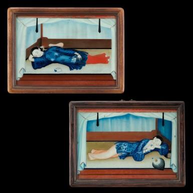 View 1. Thumbnail of Lot 187. Chinese School, early 19th century Two Reclining Ladies on Day Bed | 中國畫派 十九世紀初    美人春睡圖一組兩幅   玻璃畫作 木框.