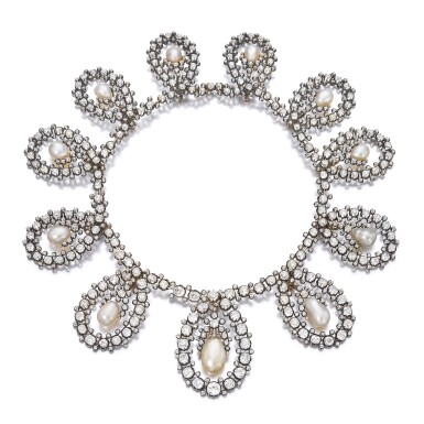 View 2. Thumbnail of Lot 180. Musy | Magnificent and Historic Natural pearl and diamond tiara/necklace, second half of the 19th century | Musy | 天然珍珠配鑽石王冠/項鏈,十九世紀下半葉,具歷史價值.